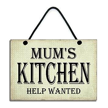 amazon uniquepig mum s kitchen help wanted木製signs面白いホーム