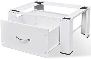 vidaXL Washing Machine Pedestal with Storage Drawer Dryer Mini Refrigerator Cabinet Stand for Utility Room Home Washing Machines Furniture White Load Capacity 220.5 lb