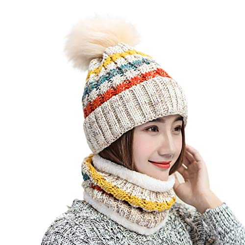 residentD 2PcsFashion Hat&Scarf Set for Women Multicolor Knitted Venonat Beanie (Beige)