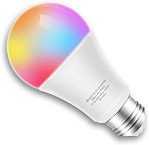 Smart LED Bulb WiFi Multicolor Light Bulb Compatible with Alexa, Echo, Google Home and IFTTT No Hub Required, E26 A19 60W Equivalent RGBW Color Changing, 9.5W White 2700K Dimmable UL Listed (1pack)