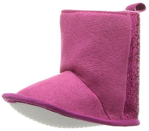 Luvable Friends Girls' Winter Boot with Glitter Crib Shoe, Dark Pink, 6-12 Months Standard US Width US (How To Glitter Shoes)