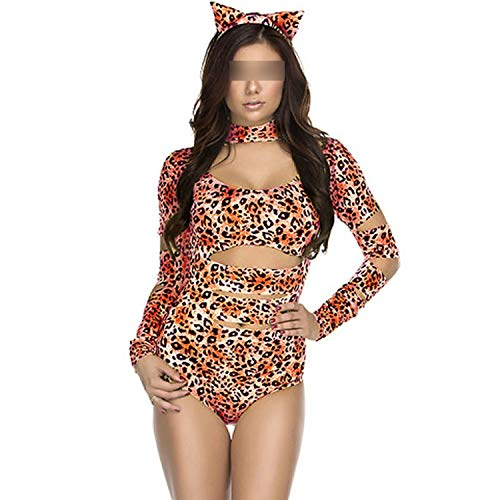 Sexy Catwoman Catsuit Cheetah Sexy Cat Costume Fantasia Sexy Halloween Carnival Party Uniform,Black,One Size ()