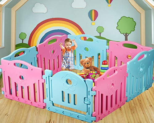 Baby Playpen Kids 8 Panel Safety Play Center Yard Home Indoor Outdoor Pen ()