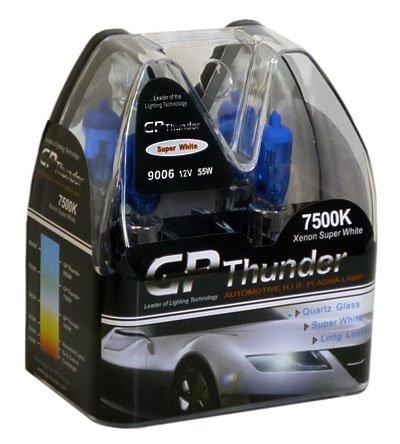 GP Thunder 7500k 9006 55w Plasma White Quartz Glass Bulbs (2 bulbs) standard wattage (55w Bulb Standard Wattage)