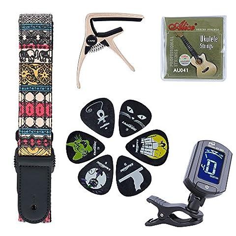 Ukulele Accessories Kit for 4 String Small Guitar with Ukulele Tuner ,Capo and Ukulele Strap, Picks & (Small Tuner)