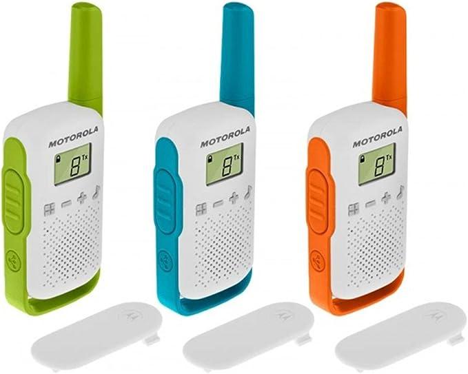 Motorola T42 Triple Talk About – Aparatos de Radio (Juego de 3, PMR446, 16 Canales, Alcance 4 Km) Multicolor