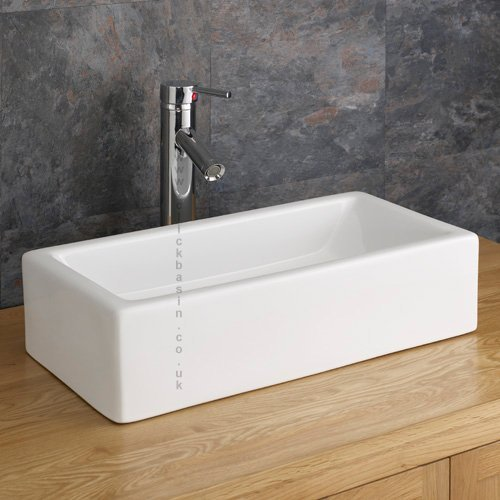Clickbasin 49.6cm X 24.5cm Narrow Counter Top Treviso Rectangular Basin
