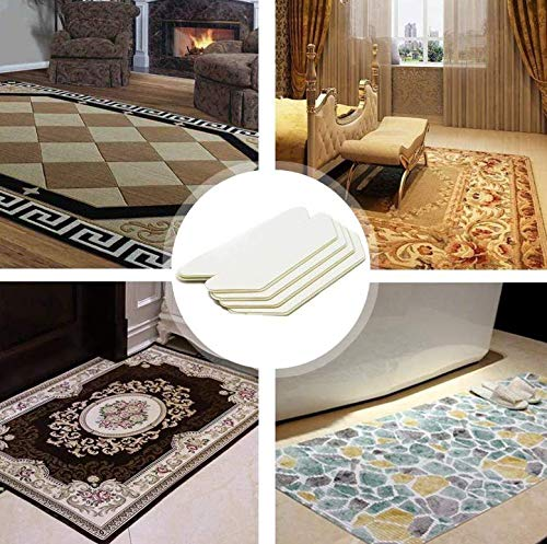 Rug Pad 8 Pcs Carpet Tape Pad Corner Stickers for Hardwood Floors Area Rug Gripper Tape Non Slip Carpet Gripper Anti Curling Rug Tape Washable Renewable Rug Pad Skid Tape Enjowarm Rug Grippers