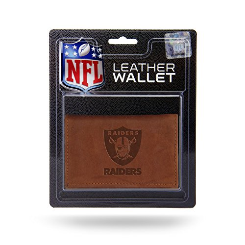 Rico Industries NFL Oakland Raiders Leather Trifold Wallet with Man Made Interior