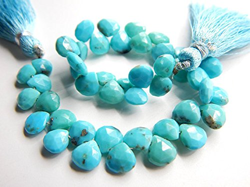 Turquoise Sleeping Beauty Faceted Teardrop Beads Heart Shape Briolettes Size 8x6.mm Approx 7.5