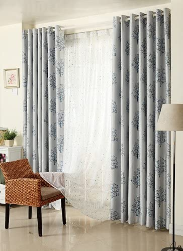 Elleweidec Life Tree Branch Window Curtain Drape Panel Artistic Blue, 52Wx84L
