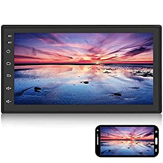 "Android Double Din Car Radio with Bluetooth GPS Navigation WiFi 7"" LCD Touch Screen Head Unit Support iOS Android Phones Mirror Link/Dual USB/FM/Backup Camera Input(Black)"