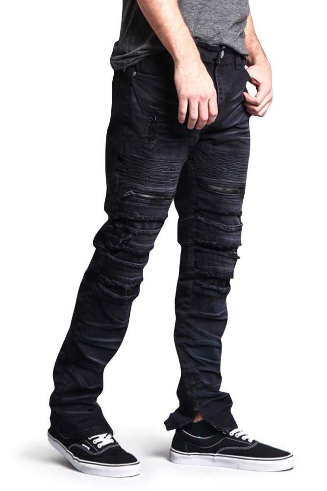 Victorious Distressed Acid Wash Zipper Accent Ankle Zip Layered Biker Slim Jeans DL1115 - Black - 32/30 - A6F