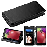 Motorola Moto E4 Case, Mybat Stand Folio Flip Leather [Card Slot] Wallet Flap Pouch Case Cover For Motorola Moto E4, Black
