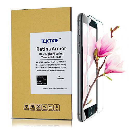 iPhone 6| iPhone 6S Screen Protector, [Eye Protection] Blue Light Blocking Tempered Glass, 3D Touch Compatible, Bubble-free Easy Installation, 9H Hardness, Fingerprint Resistant, Shatter - Light Glares