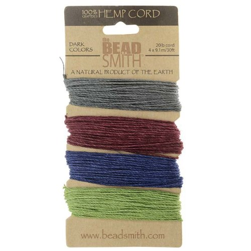 Hemp Twine Bead Cord 1.0mm - Dark Colors App 30 Feet 42560 by Beadsmith (1 Mm Hemp)