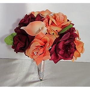 Burgundy Coral Rhinestone Rose Calla Lily Bridal Wedding Bouquet & Boutonniere 9