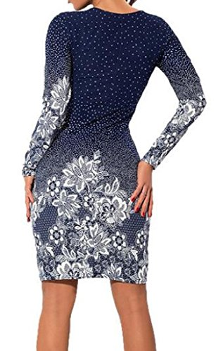Dress Sleeve Sheath Print Vintage Picture Pencil Women As Long Coolred Bandage wCaxFf8q