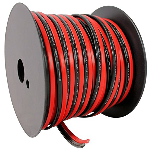Rockville R14GSBR100 Red/Blk 14 Gauge 100' Ft. Mini Spool Ca