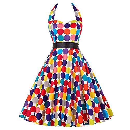 NDJqer Women Vintage 1950s Rockabilly Polka Dots Audrey Dress Retro Cocktail Dress 873 M -