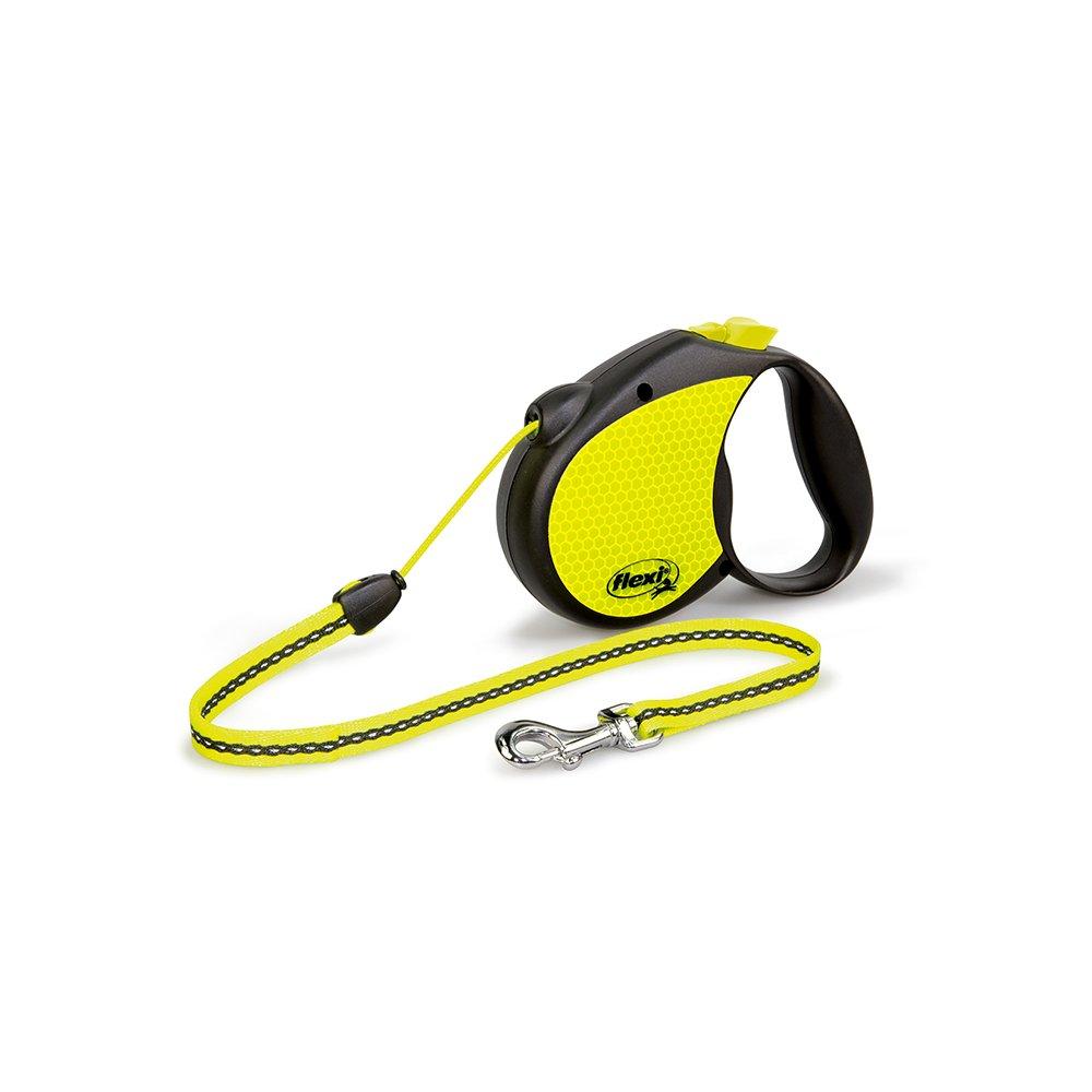 Flexi Neon Retractable Lead, Yellow Black, Medium, 5 m 20 Kg