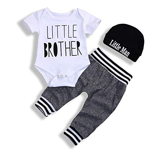 Newborn Baby Boy Clothes Little Brother Letter Print Short Sleeve Romper Pants Hat 3Pcs Outfits Set (0-3 Months, White)