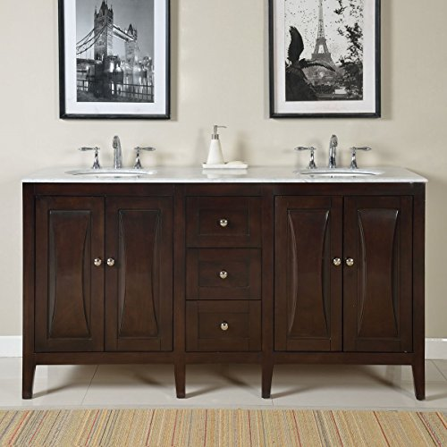 Silkroad Exclusive Countertop Marble Dual Sink Bathroom Vanity with Cabinet, (Structure Lavatory)