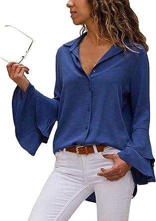 ShallGood Mujer Solid Camisa Manga Larga Blusa Camisas con Volantes Casual Color Sólido Camisa Cuello En V Botones Camisetas Irregular Blusa: Amazon.es: Ropa y accesorios