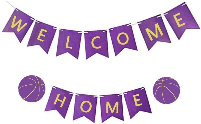 MAGQOO Purple Welcome Home Banner Purple Card Welcome Home Banner Gold Letters for Home Decoration Basketball Theme Family Party Supplies