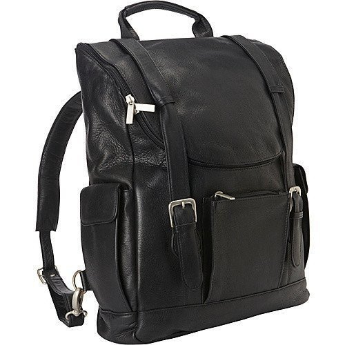 Ledonne Leather LD-044-BLACK Leather Classic Laptop Backpack
