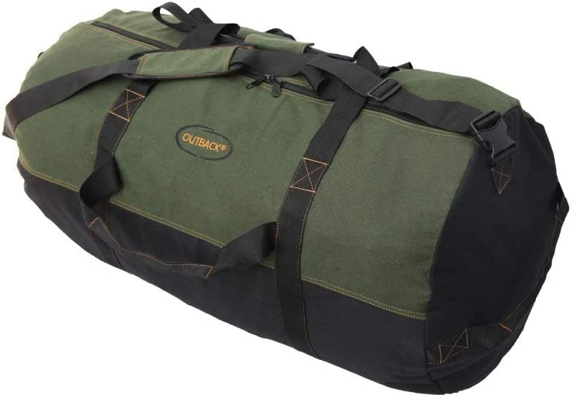 Ledmark Heavyweight Cotton Canvas Outback Duffle Bag, Green, Giant 48 x 20