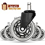 Newthinking Office Chair Caster - Office Chair Caster Wheels Replacement - Heavy Duty, Perfect Replacement for Desk Floor Mat - Rollerblade Style/Universal Fit (Set of 5)