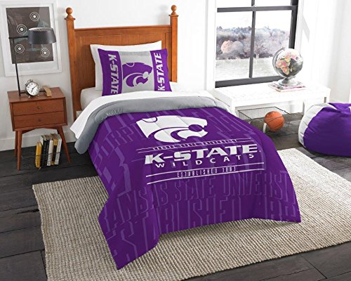 (Kansas State Wildcats - 2 Piece Twin Size Printed Comforter Set - Entire Set Includes: 1 Twin Comforter (64