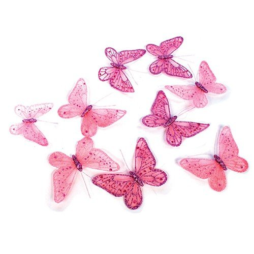 (Pink Butterfly Garland with Glitter 5.25