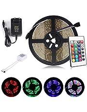 ALED LIGHT® Tira de Luz LED RGB 5M(16.4 ft) 3528 SMD 300 LEDs + Adaptador de Alimentación de 12V 2A + 24 Mando a Distancia Clave + Receptor + Descripción del Producto [Clase de eficiencia energética A