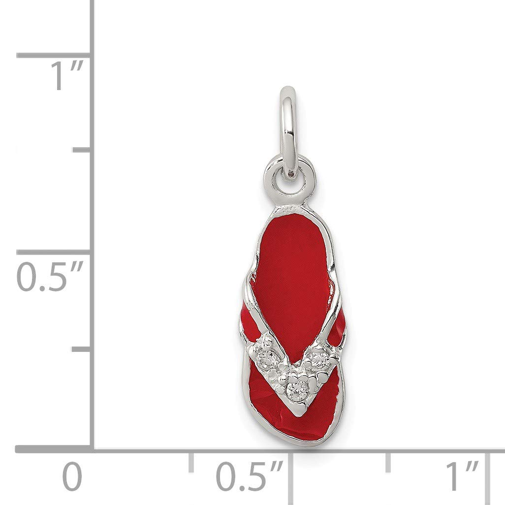 Bonyak Jewelry Sterling Silver CZ and Red Enameled Flip Flop Charm