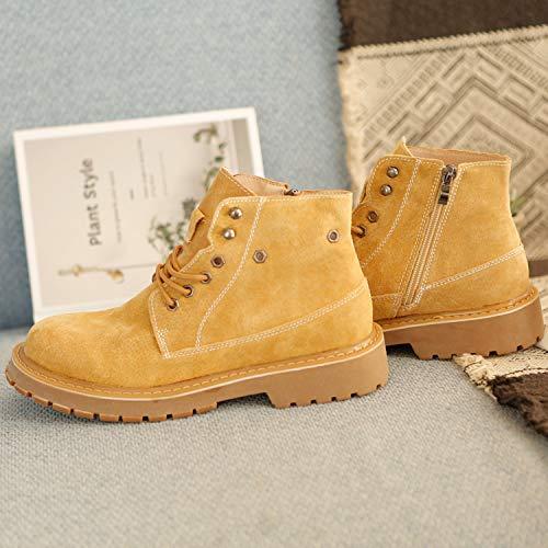 Shukun Herren Stiefel Autumn Martin Stiefel Men's Versatile Tooling Schuhes Men's Schuhes High to Help Gelb Stiefel Men's Increased Casual Stiefel