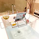 SortWise ® Expandable Bathtub Bath Tub Tray and Caddy with Removable Reading Rack Book Tablet Shelf, Candleholder, Wine Glass / Candle Holder, Chrome