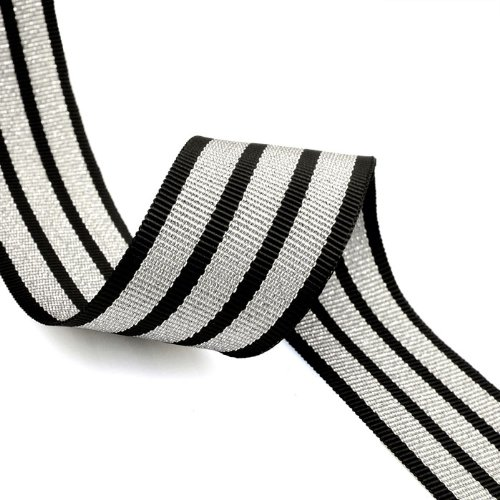 - Grosgrain Ribbon 1-1/2-inch Black and Metallic Silver Stripe 10 Yards