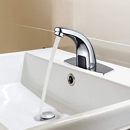 Halo Sanitary Automatic Touchless Sensor Bathroom Faucet, Motion Activated  Hands Free Kitchen Sink Tap with Hole Cover Deck Plate, Lead Free Kitchen  ...