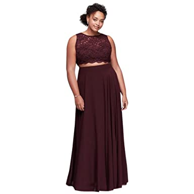 Amazon.com: David\'s Bridal Scalloped Top Two-Piece Plus Size Prom ...