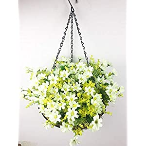 Lopkey Artificial Daisy Flowers Outdoor Indoor Patio Lawn Garden Hanging Basket with Chain Flowerpot,10 inch White 2