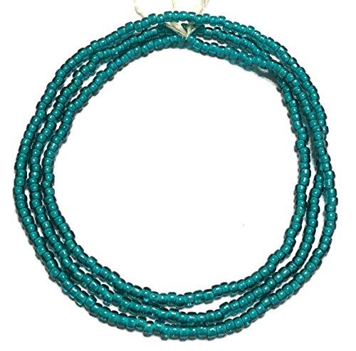 VIntage Ghana Aqua Green seed Beads Glass African Trade Beads - Green Glass Trade Beads