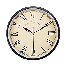 Foxtop 12 Inch Large Silent Non-ticking Classic Quartz Wall Clock Decor Living Room Roman Numeral Clocks (Black)
