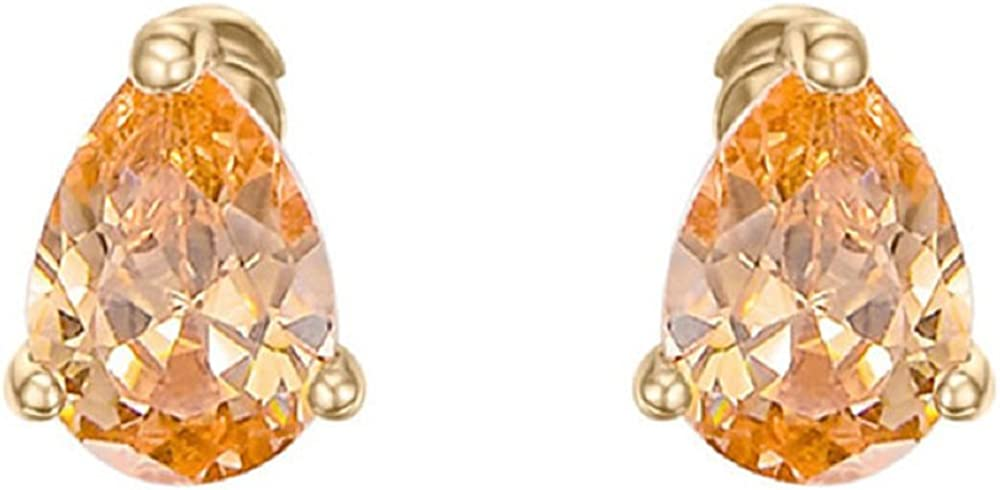SHINNINGSTAR Champagne Crystal 18ct Rose Gold Plated Studs Earrings