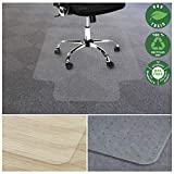 Office Marshal Chair Mat for Carpet with Lip | Eco-Friendly Series Chair Floor Protector | 100% Recycled (PET) Floor Mat for Office or Home Use | Multiple Sizes | Translucent - 48'' x 53''