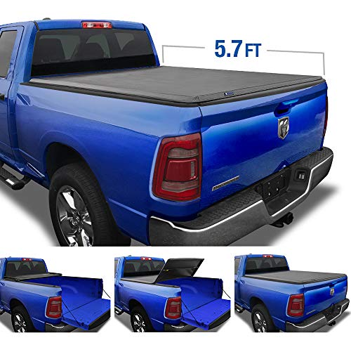 Tyger Auto T3 Tri-Fold Truck Tonneau Cover TG-BC3D1044 Works with 2019 1500 New Body Style   Without Ram Box   Fleetside 5.7' Bed