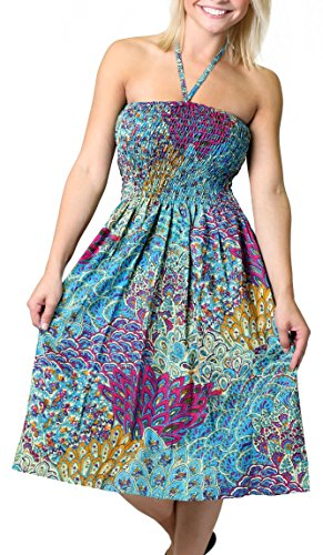One-size-fits-most Tube Dress/Coverup with Peacock Print - Turquoise