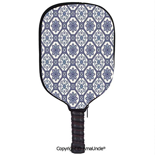 AmaUncle Customized Racket Cover, Stylish Arabesque Floral Oriental Persian Afghan Medieval Baroque Tiles Shapes Tribal Artsy Racket Cover,Protect Your Pickleball Paddles