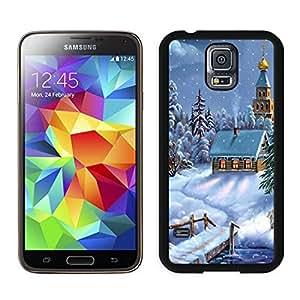 Personalized Christmas Snow Scen Black Samsung Galaxy S5 Case 1